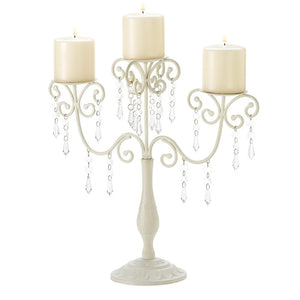 Candelabra Candle Holder, 3-candle Metal Ivory White Candelabra Candles Holders