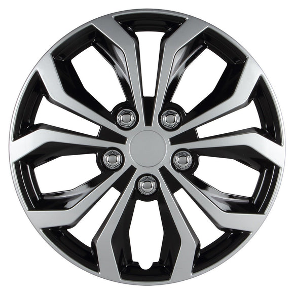 Hubcap, Black And Silver Finish Universal Spyder Performance 15 Inch Hubcaps Set