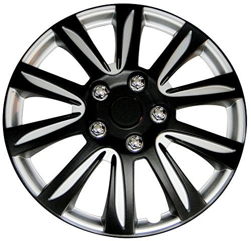 Wheel Hubcaps, Black Label Premier Universal Plastic 15 Inch Hubcaps Set Of 4