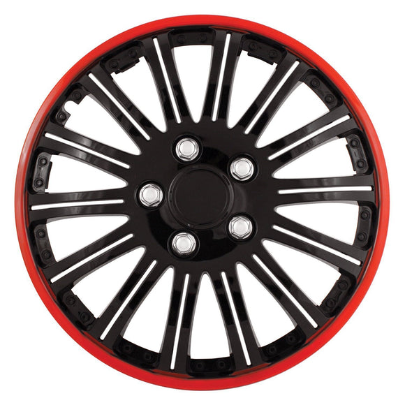 Hubcaps 16, Universal Plastic Tire Hubcap Black Chrome With Red Accent(set Of 4)