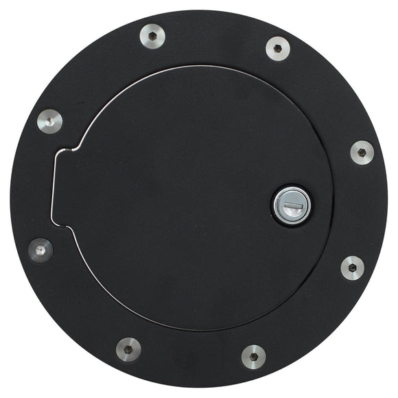 Gas Tank Door, Ford Replacement Locking Gas Cap Door Cover Black - Aluminum