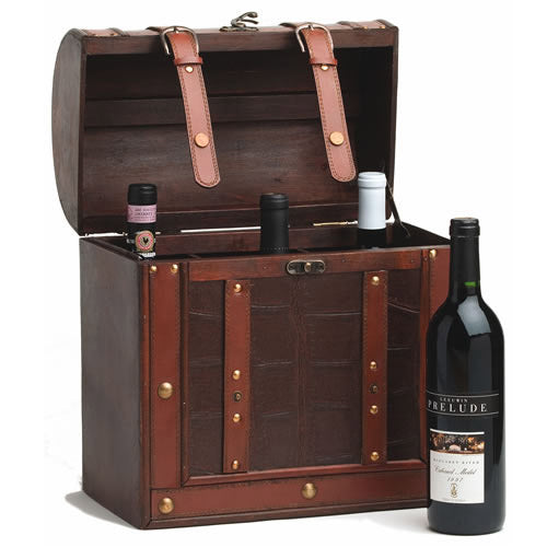 Wine Boxes, Decorative Wine Gift Box Wood Faux Leather - 6 Bottle Storage