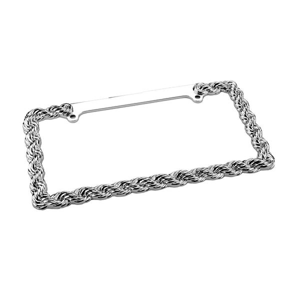 Decorative License Plate Frame, Chrome License Plate Frame Rope - Silver