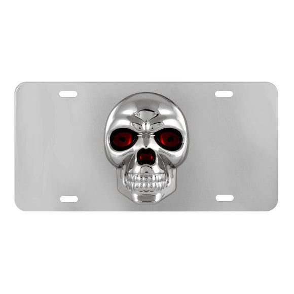 License Plates, Universal Chrome Stainless Steel 3d Skull License Plate Decor