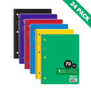 1-subject Spiral Notebooks, Ruled Bound Spiral Notebook For Kids - Case Of 24