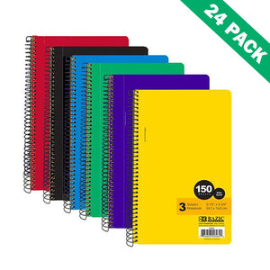 Spiral Notebook Paper, 3-subject Wide Ruled Spiral Notebook School (case Of 24)