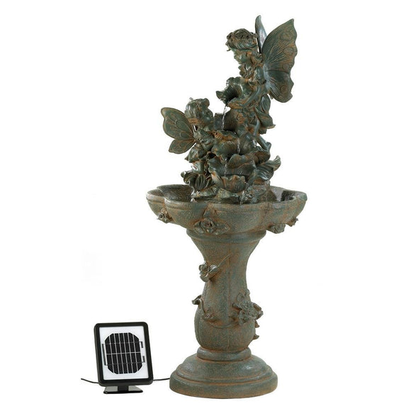 Water Fountains Outdoor, Antique Backyard Decorative Fairy Solar Water Fountain