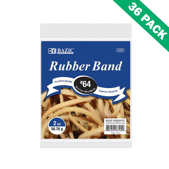 Rubber Bands Size 64, Rubber Band Office Strong Elastic - Case Of 36 Units