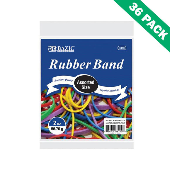 Colorful Rubber Bands, Bazic Variety Rubber Bands Mixed Sizes Colored, 36 Units