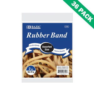 Rubber Bands Assorted Sizes, Bazic Office Rubber Bands Strong - Case Of 36