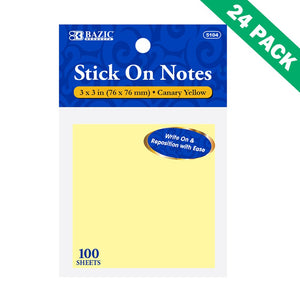 Sticky Note, Small School Accessories Memo Pad 3x3 Yellow Sticky Notes Set Of 24