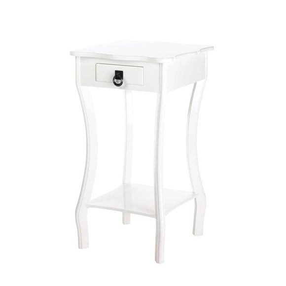 Wood Accent Table, Contemporary Decor Scalloped White Accent Tables With Drawers