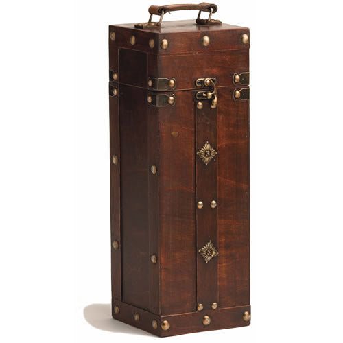 Wine Gift Boxes, Luxury Rustic Wooden Vintage Treasure Chest Decorative Wine Box