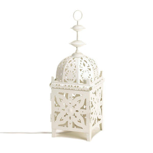 Table Lamp Lantern, Antique Rustic Iron Bedside White Table Lamp