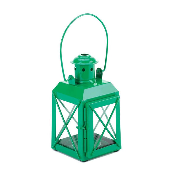Candle Lanterns, Vintage Green Hanging Patio Candle Lamp Table - Iron, Glass