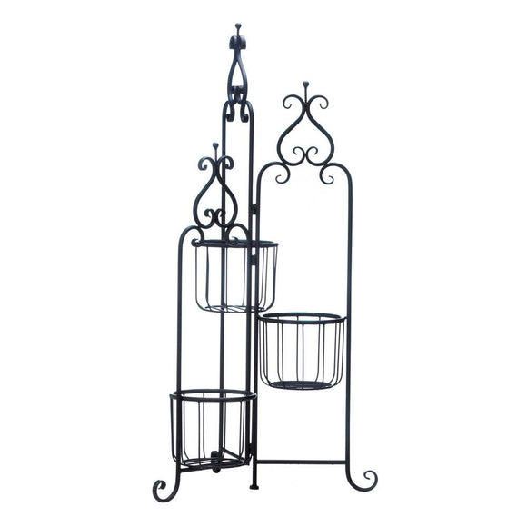 Metal Plant Stand, Outdoor Decor Rustic Black Iron 3-tier Plant Stand Pedestal