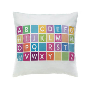 Throw Pillows, White Colorful Alphabet Decorative Square Throw Pillow For Couch