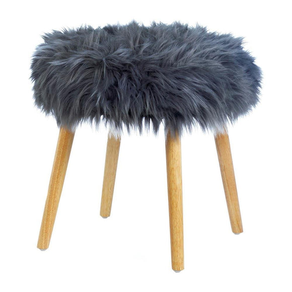 Faux Fur Stool, Decorative Gray Outdoor Stools Wood And Polyester Furniture