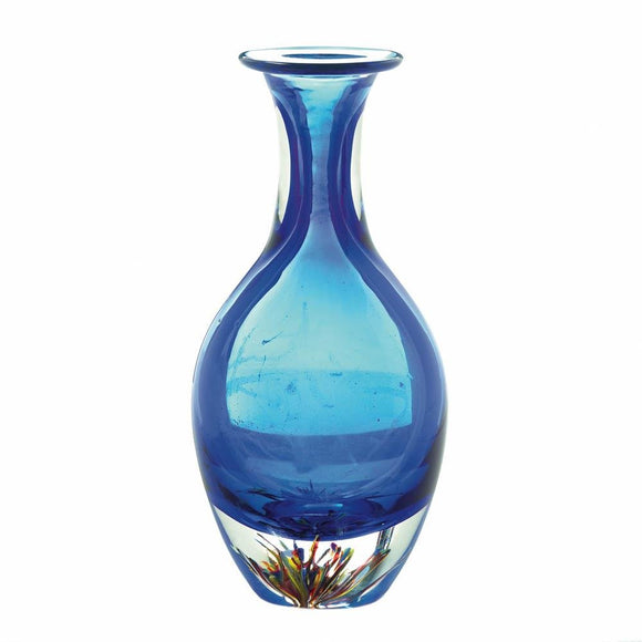 Art Glass Vase, Modern Unique Centerpiece Contemporary Blue Art Bottleneck Vase
