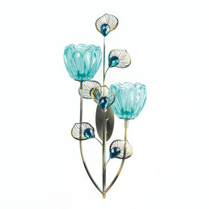 Sconces Wall Decor, Mounted Decorative Rustic Peacock Blossom Duo Cup Sconce