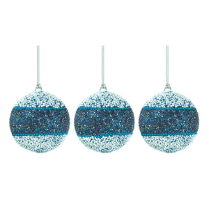 Christmas Tree Ornaments Balls, Small Blue Glass Decorative Ornament Hangers