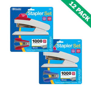 Stapler Set, Bazic Comfort Grip Office Desktop Stapler Sets, 12 Units Per Box