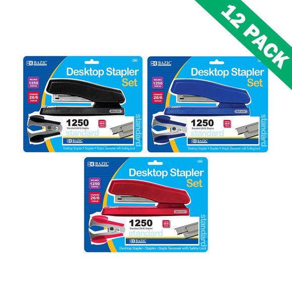Office Staplers, Colored Bazic Desktop Stapler And Remover Sets 12 Units Per Box