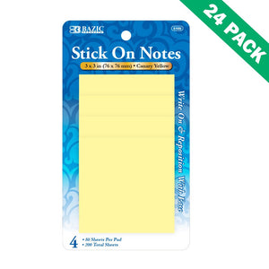 Sticky Note Pad, Bazic 3x3 Bright Yellow Sticky Notes Memo (4/pack) Set Of 24