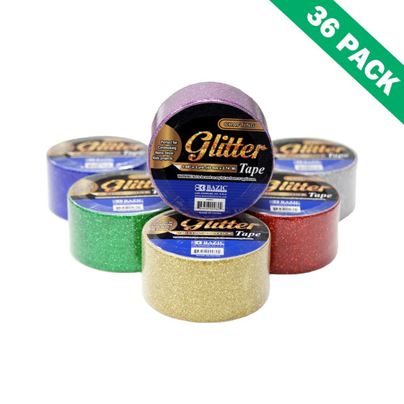 Craft Glitter Tape, Glittering Tape Red Green Silver Purple Gold Blue -box Of 36