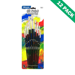 Painting Brush, Assorted Paint Brushes Set 9 Pack Oil Acrylic (12 Unit Case)
