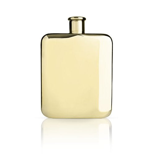 Flask, Pocket 6ounce Metal Flasks For Liquor - 14k Gold Plated Stainless Steel