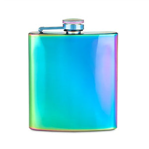 Liquor Flask, Small 6ounce Iridescent Pocket Flasks Stainless Steel