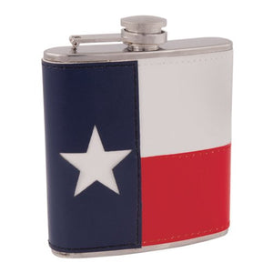 Stainless Flask, Stainless Steel Pocket Flasks For Liquor - Texas Flag Leather