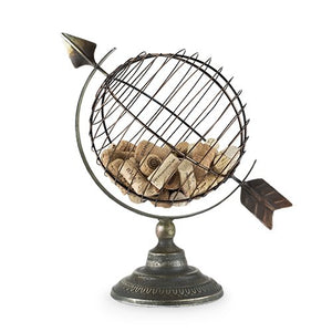 Cork Holder, Rustic Metal Novelty Wine Cork Holder Cage - Old World Globe