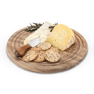 Wood Cheeseboard, Rustic Round Cheese Boards Wood Acacia And Knife Set