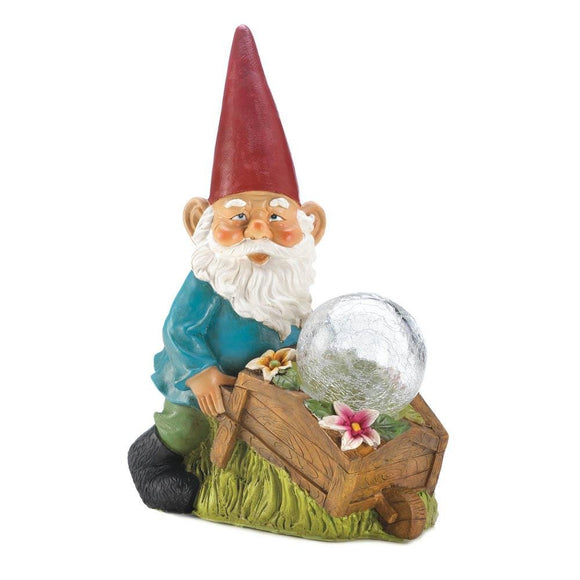 Solar Lights Outdoor Statues, Garden Patio Gnomes Figurines - With Wheel Barrow