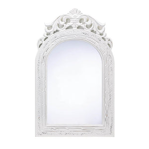 Mirrors For Wall Decor, Arched-top Wood Framed Decorative Wall Mirror - White
