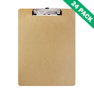 Clipboards Pack, Bazic Brown Hardboard Clipboard For Office Clipboards - 24pc
