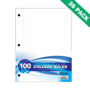 College Rule Filler Paper, Basic 8 X 10.5 White Notebook Filler Paper Set Of 36