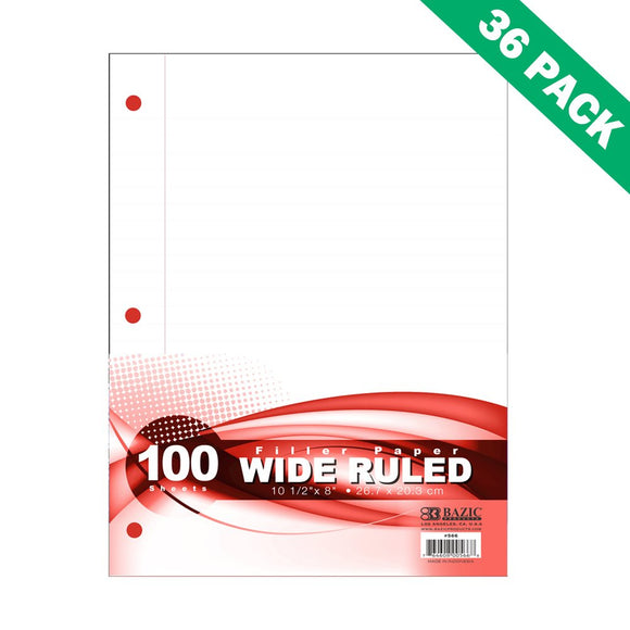 Paper Filler, Package Of 36 100ct Wide Rule Filler Paper 8x10.5 For School