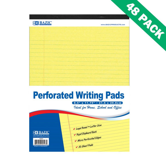 Lined Writing Pads, Legal Ruled Canary Yellow Writing Paper Pads Set Of 48