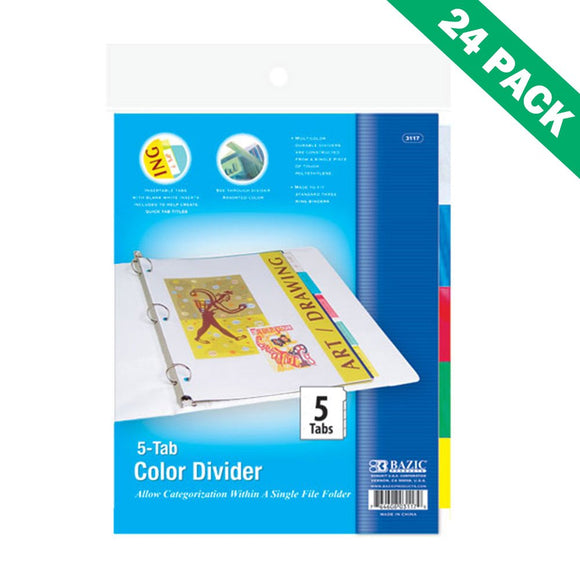 3-ring Binder Dividers, Insertable Poly 5-tab Divider For Binder - Case Of 24