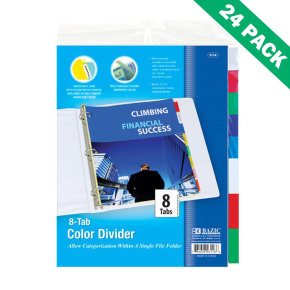 3ring Binder Dividers, Bazic Divider For 3 Ring Binder With Insert - 24 Units