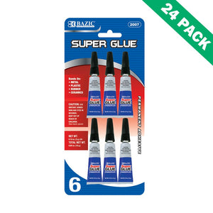 Super Glue Gel Pack, Bazic Ceramic Super Glue For Plastic Metal Bond, 24 Units