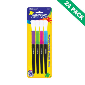 Watercolor Paint Brush, 24 Unit Case Of 4-pack Nylon Kids Painting Brushes