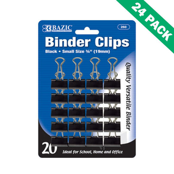 Binder Clips Black, 19mm Black Paper Binder Clips Small (20/pack) - Pack Of 24