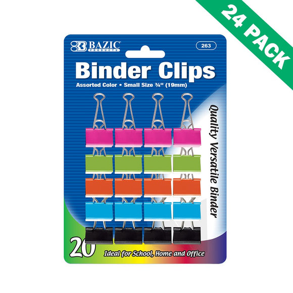 Colored Binder Clips, Metal Paper Binder Clips Small 19mm (20/pack) - Pack Of 24