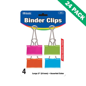 Colored Binder Clips, 4 Pack Assorted Color Large Clip Binder (24 Unit Case)