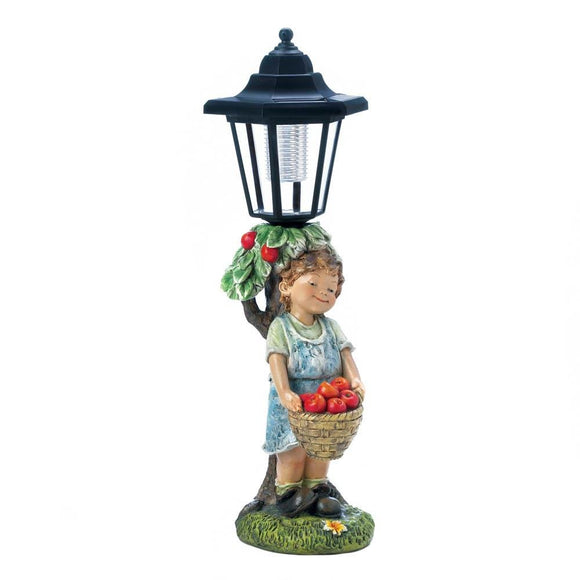 Solar Garden Statues, Apple Basket Outdoor Lights Figurines Small Solar Statue