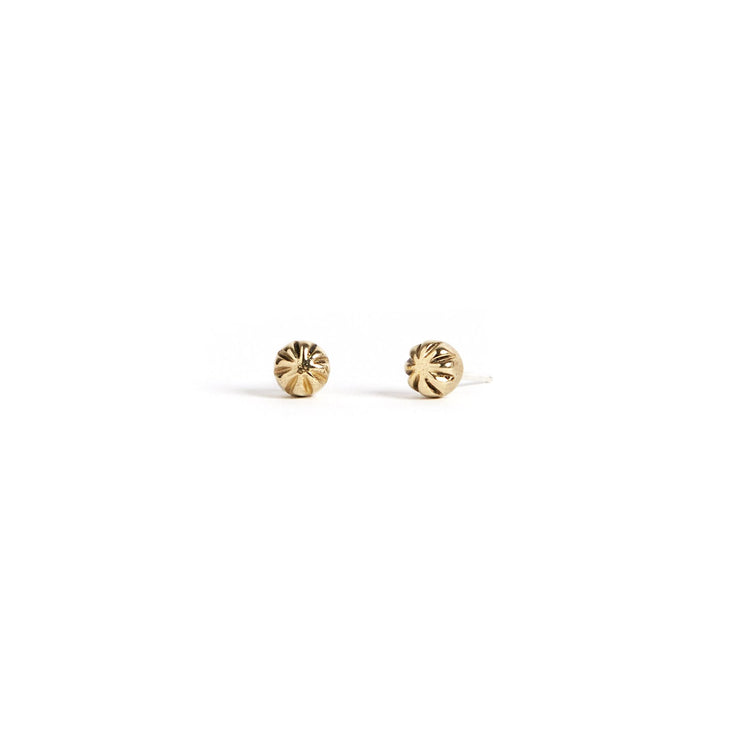 Carved Studs - Brass / Polished - Earrings